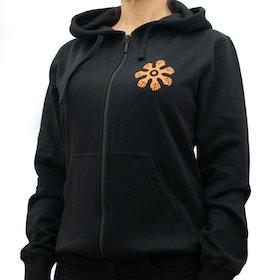 Hoodie med zip - slim modell - svart