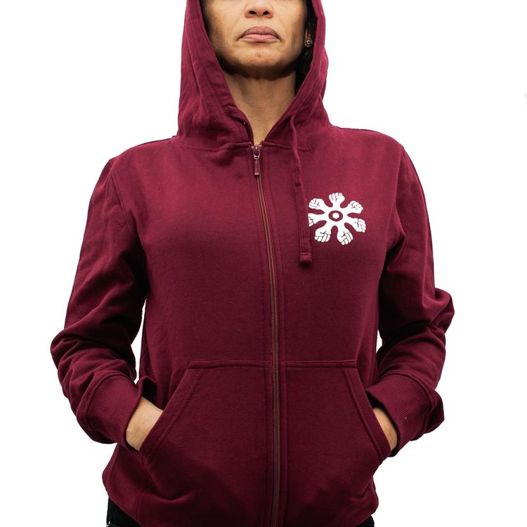 Hoodie med zip - slim modell - vinröd