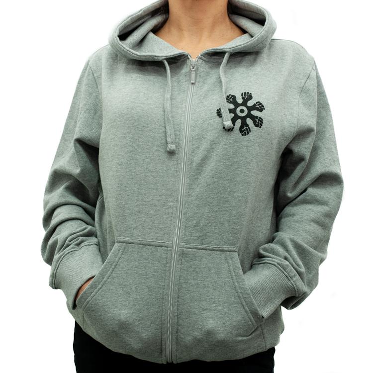 Hoodie med zip - slim modell - grå