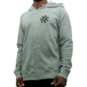 Hoodie med zip - rak modell - grå