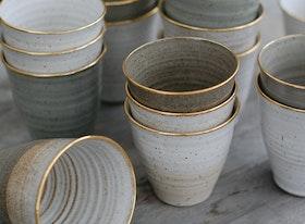 Kaffemugg med guldkant (Fler färger)