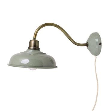 Vägglampa Grön Antik Mässing