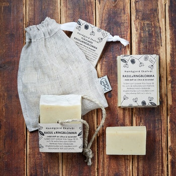 Handmade Eco Soap Rhassoul & Calendula - gentle scent of citrus & lavender