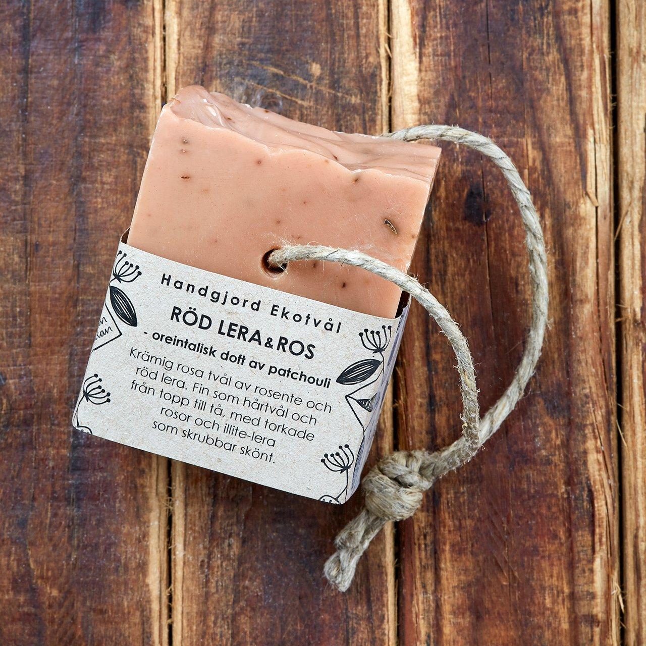Handgjord Ekotvål Röd Lera & Ros - orientalisk doft av patchouli