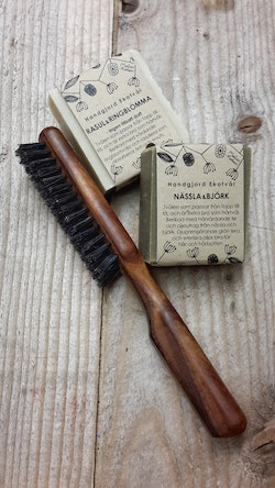 Gift set Boar Bristle Hair Brush  Thermo Wood and two schampoo bars