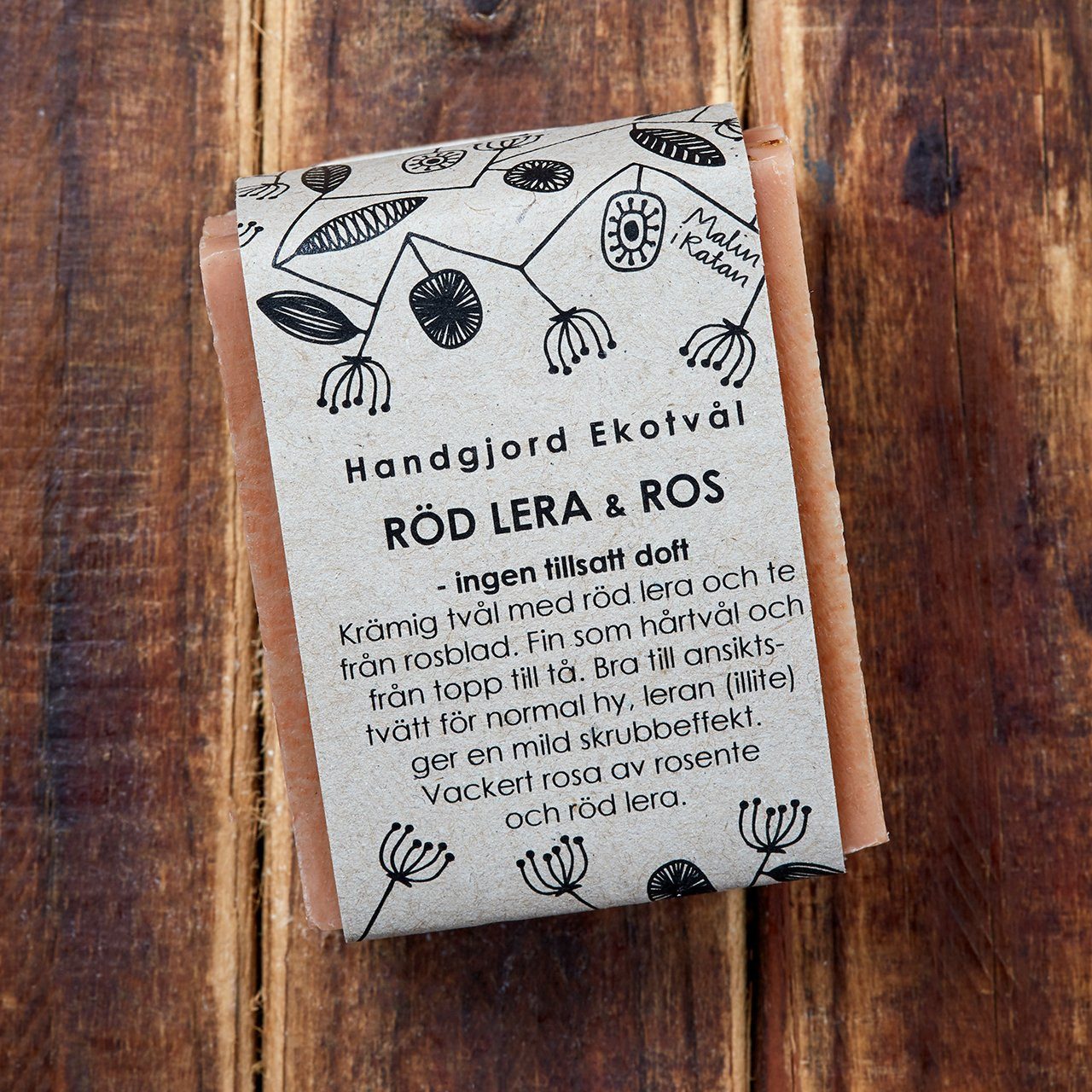 Handgjord Ekotvål Röd Lera & Ros - ingen tillsatt doft