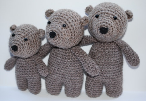De tre björnarna virkmönster amigurumi