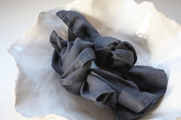 Servetter Tvättat Linne Ombre Blå 2-pack