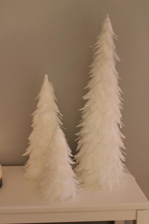 Liten Gran fjädrar vit 25 cm