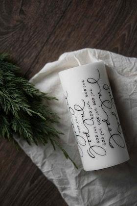 """Blockljus stearin """"god jul"""" Ylva Skarp"""