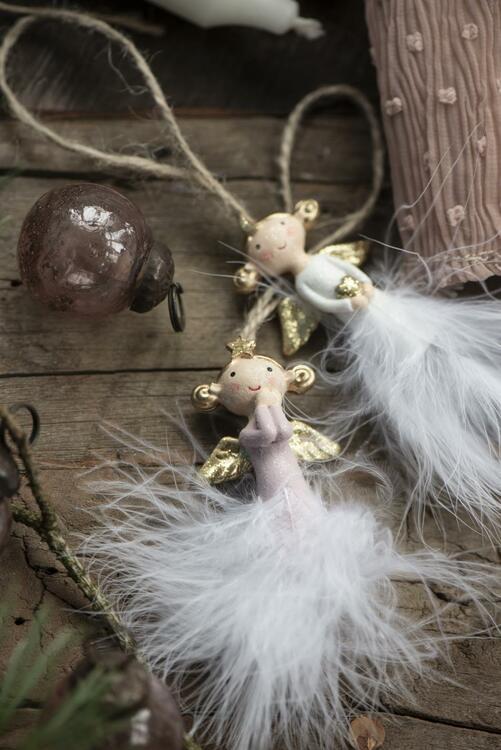Julgransdekoration 2 st ängelar med fjäder kjol handmålad