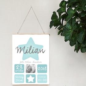 Födelseposter, doptavla, namntavla Blå stjärna foto