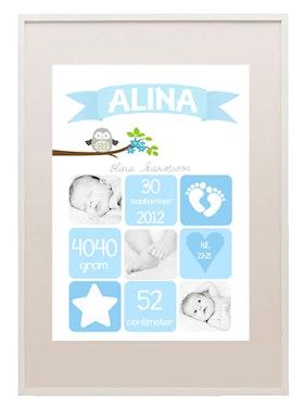 Födelseposter Rut blå med foton och uggla