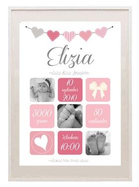 """Födelseposter Rosa rutor foton """"Älskad från första stund"""""""
