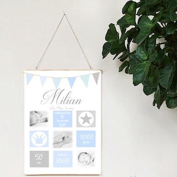 Födelseposter Ljuvlig blå med foton