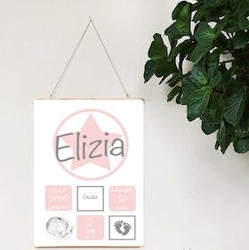 Födelseposter Allstar rosa med foto