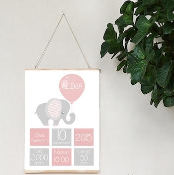 Födelseposter Elefant rosa