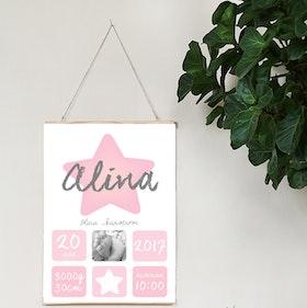 Födelseposter Rosa stjärna foto