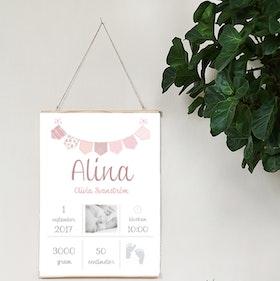 Födelseposter Rosa vimpel med foto