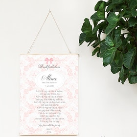 Fadderbrev, dopbrev rosett rosa