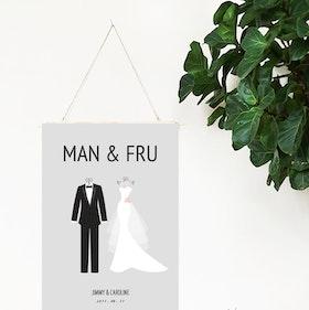 Bröllopstavla Man & Fru