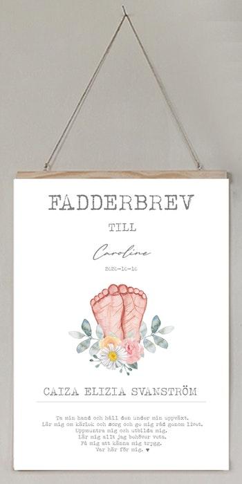 Fadderbrev, dopbrev Små fötter med blommor