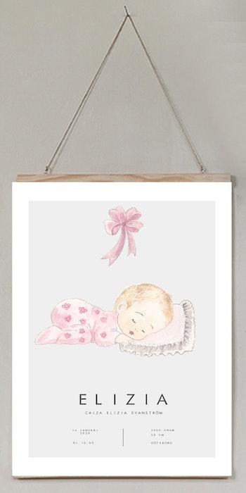Födelseposter/doptavla/namntavla pink baby