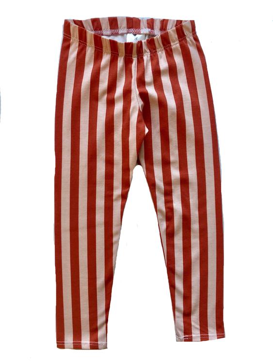 Vertical Stripes ginger/ pink leggings