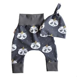 Baby set  Panda mörkgrå