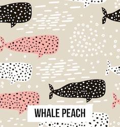 Whale peach Hårsnodd med Rosett