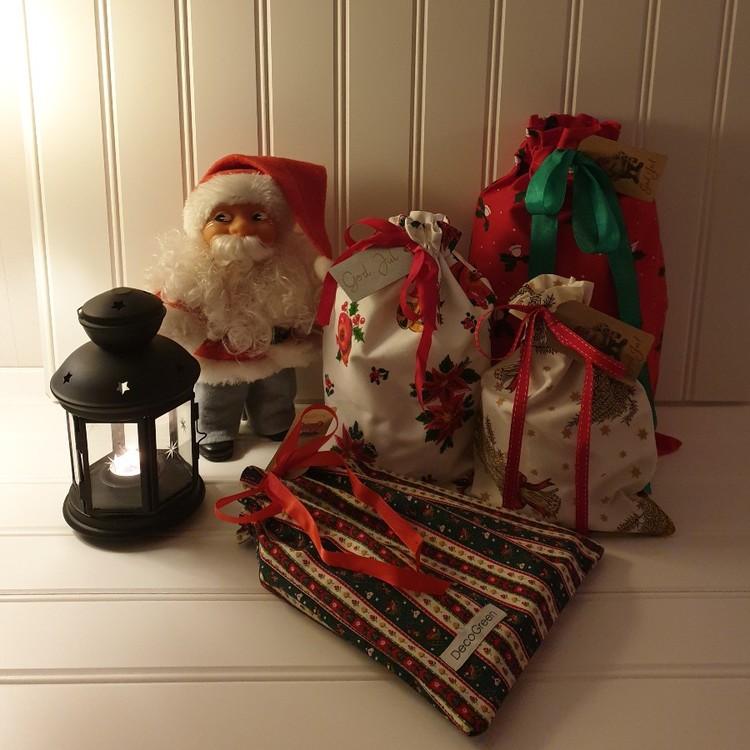 Julklappspåsar i tyg