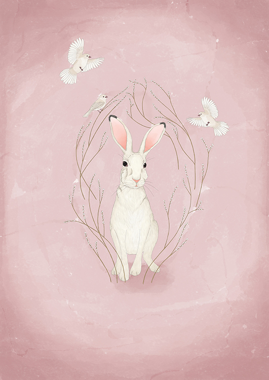 White hare - soft pink