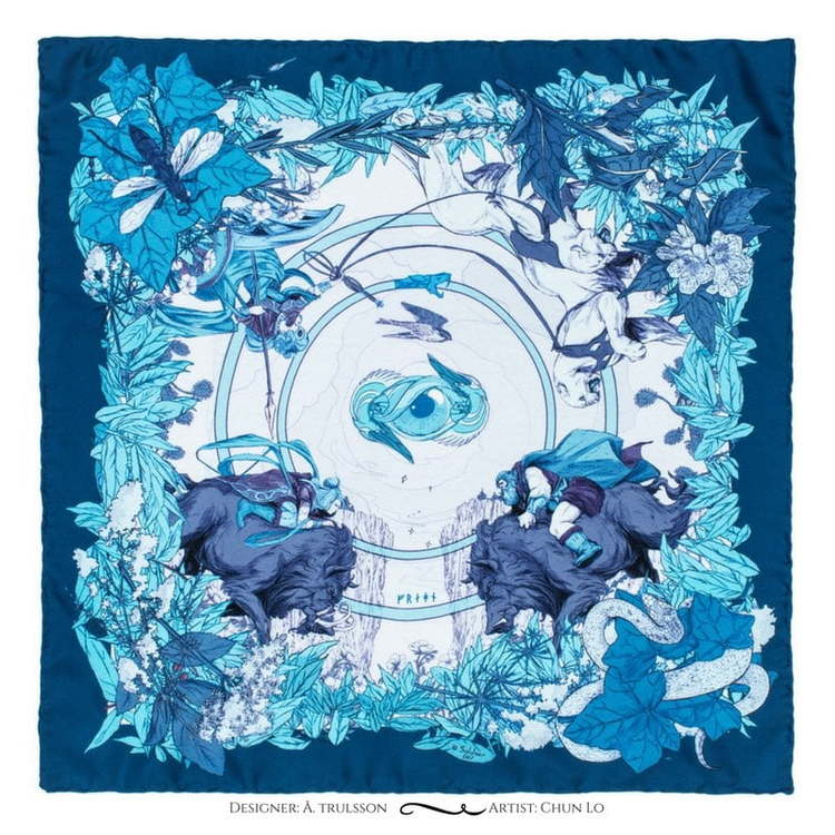Soldiser blue silk scarf Norse Goddess Freya Pattern