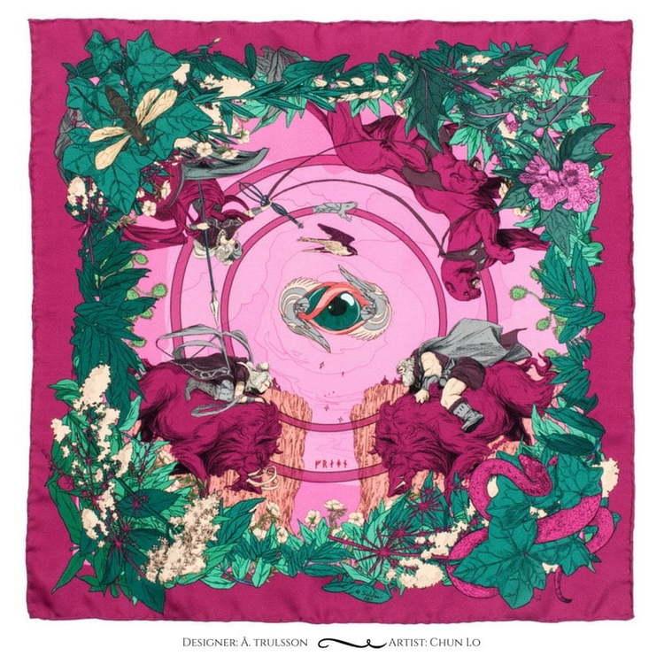 Soldiser Norse Goddess Freya pink silk pocket square pattern