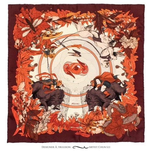 Goddess Freya Red Pocket Square