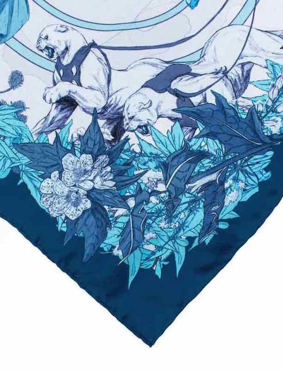 Soldiser blue silk scarf Norse Goddess Freya's Cats