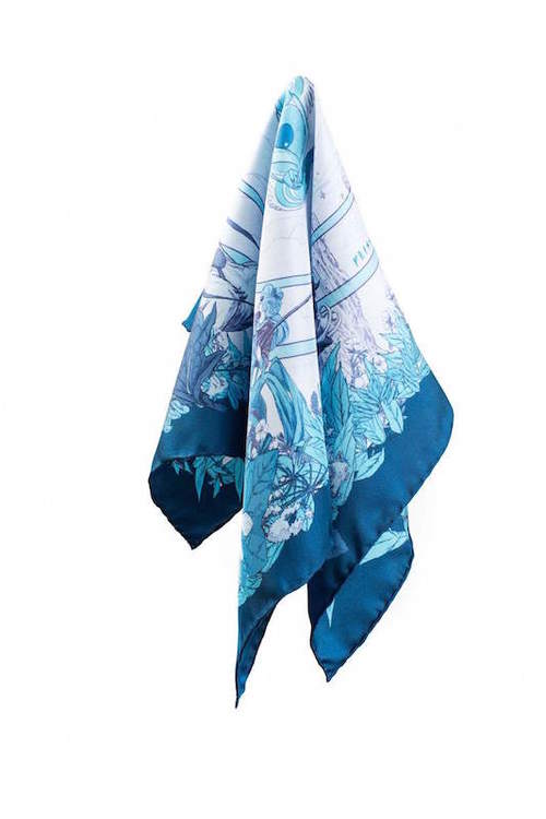 Soldiser blue silk scarf of Norse Goddess Freya folded
