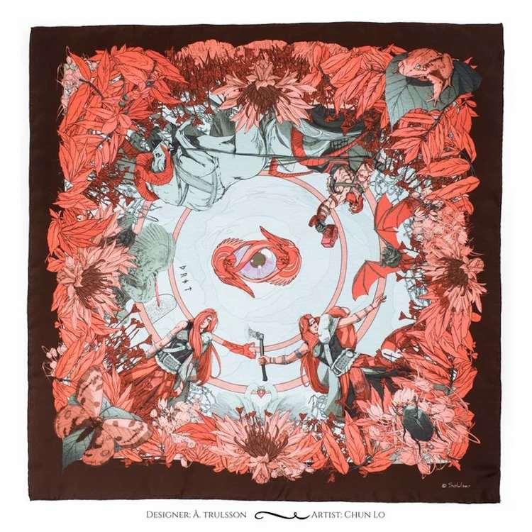Soldiser designer silk scarf Thrud Thor Pink Pattern
