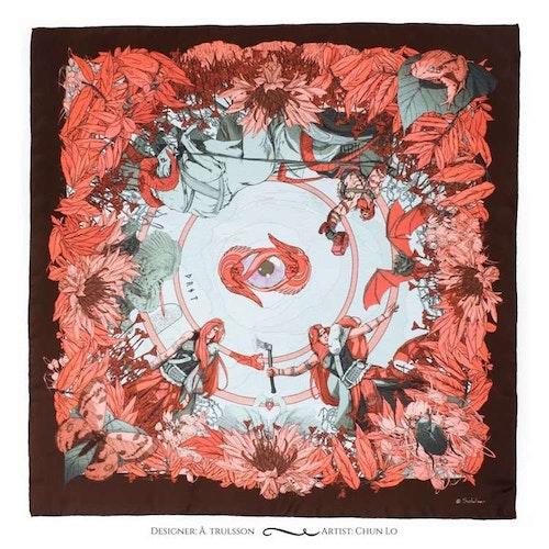 Gudinnan Truds rosa sidenscarf