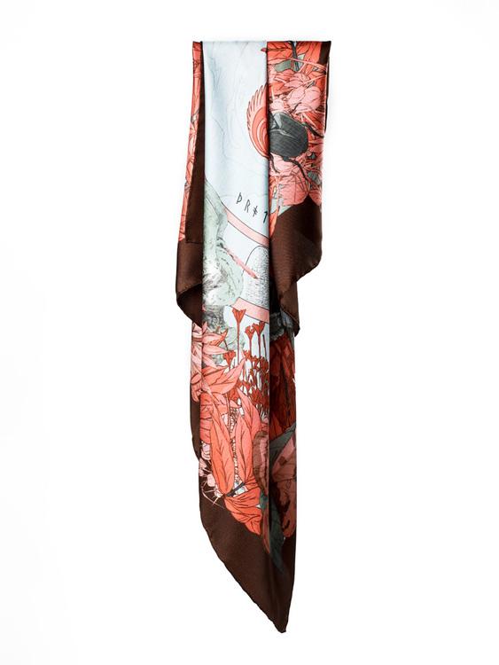 Norse Designer silk scarf Thrud Thor Grey Pink