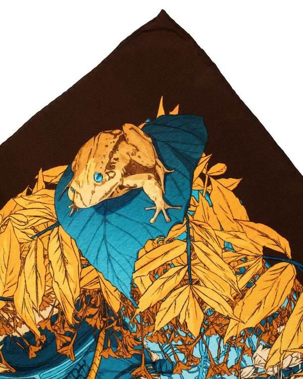 Yellow designer silk scarf Norse Goddess Thrud hand rolled hems