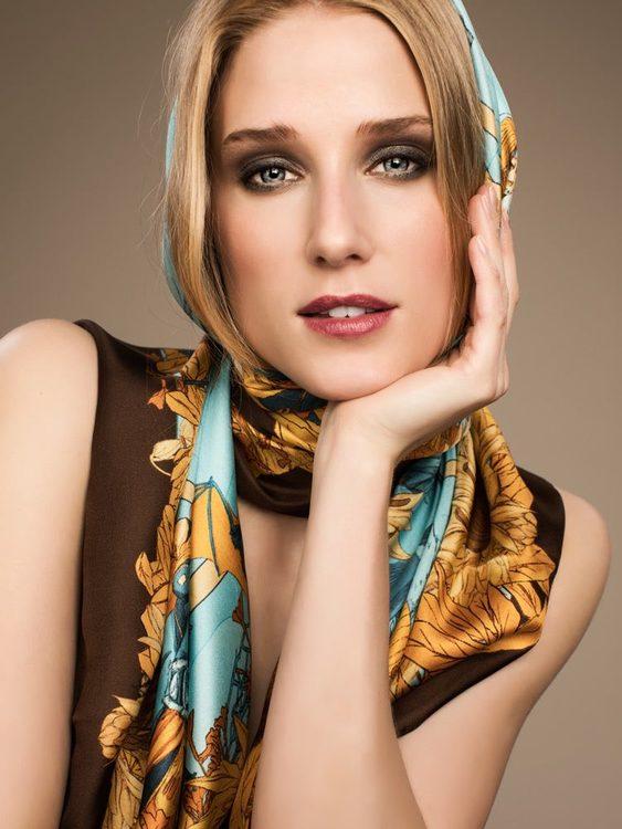 Soldiser goddess Thrud designer silk scarf