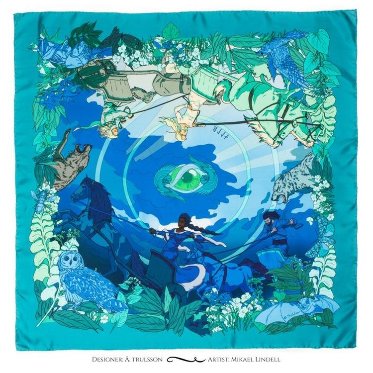 Soldiser designer silk scarf goddess Night Blue Pattern