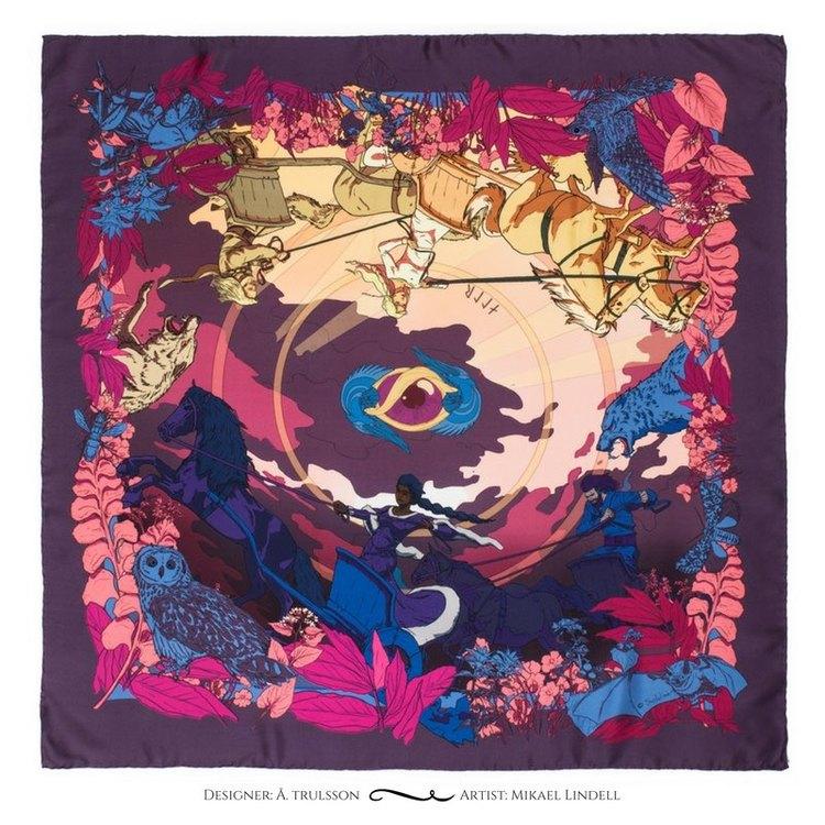 Soldiser designer silk scarf Goddess Night Coral Pattern