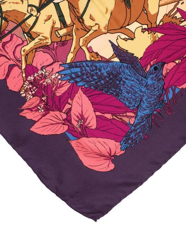 Soldiser designer silk scarf Goddess Night Coral hand rolled hems