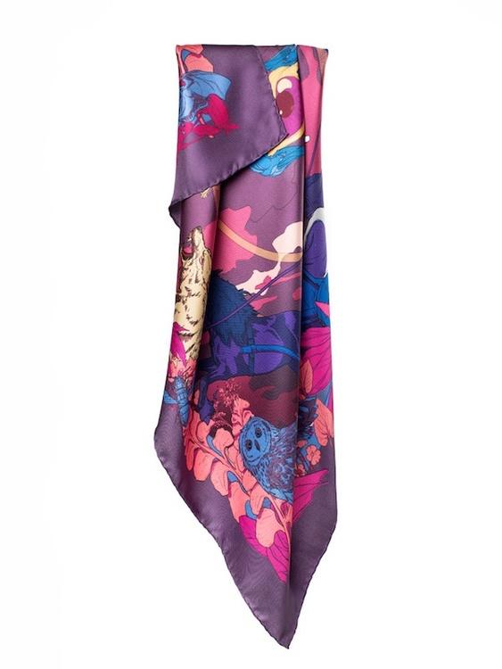 Soldiser Coral designer silk scarf of Norse Goddess Night