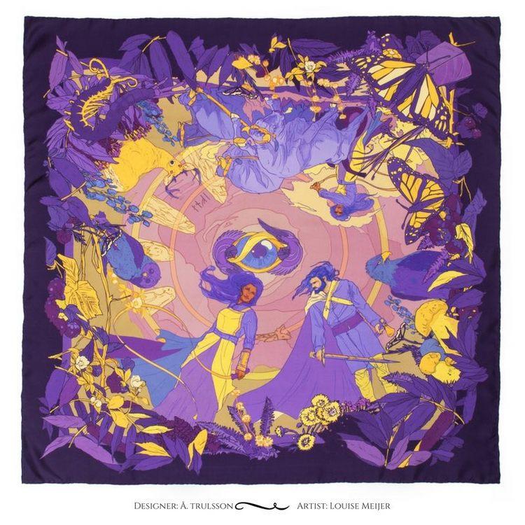 Soldiser designer silk scarf Goddess Gefjun Purple Pattern