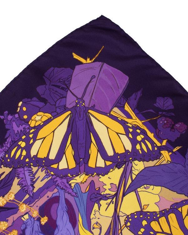 Soldiser purple designer silk scarf Goddess Gefjun hand rolled hems