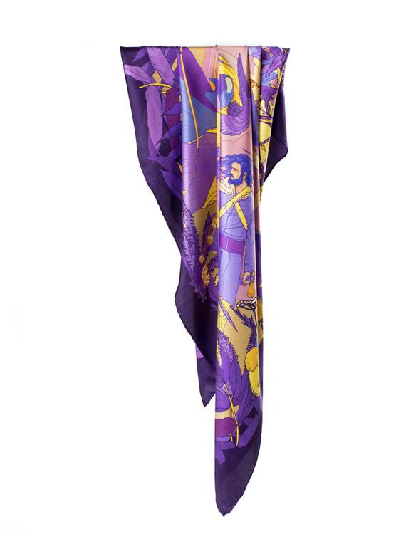 Soldiser Norse Goddess Gefjun purple silk scarf