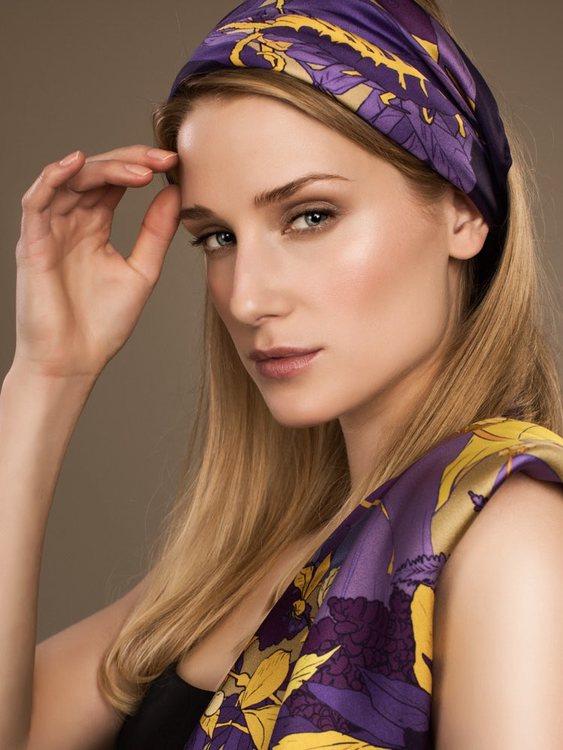 Soldiser Goddess Gefjun Purple Silk Scarf